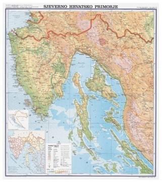 Sjeverno hrvatsko primorje, fizička, 1:130.000